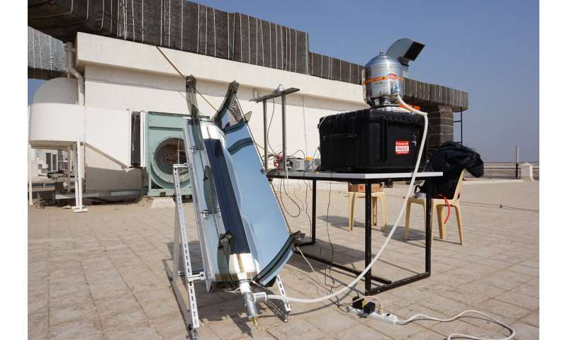 Portable solar-powered device for sterilizing medical equipment in the field