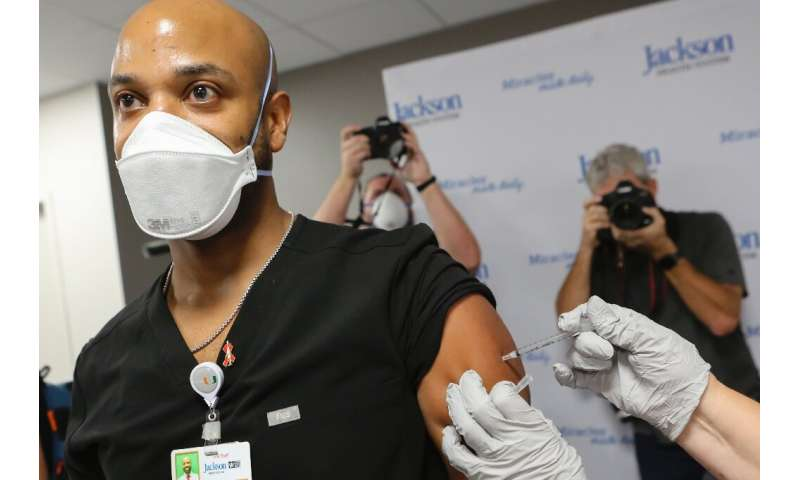 Medical staff and vulnerable patients were among the first to be vaccinated in the US