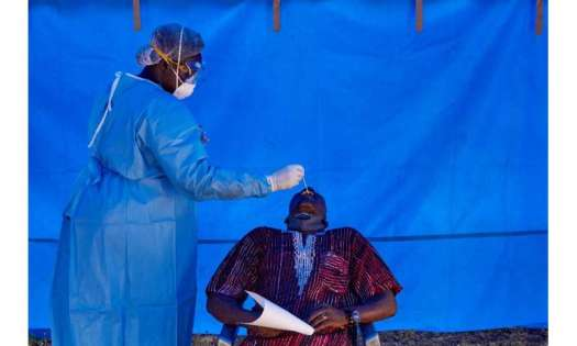 South Sudanese Rapid Response Team members conduct tests for COVID-19 in Juba