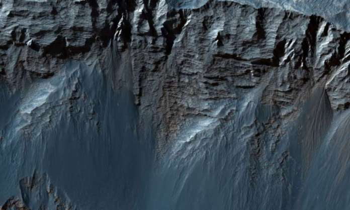 Layers upon layers of rock in Candor Chasma on Mars