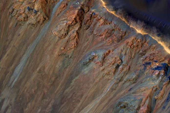 Martian landslides caused by underground salts and melting ice?