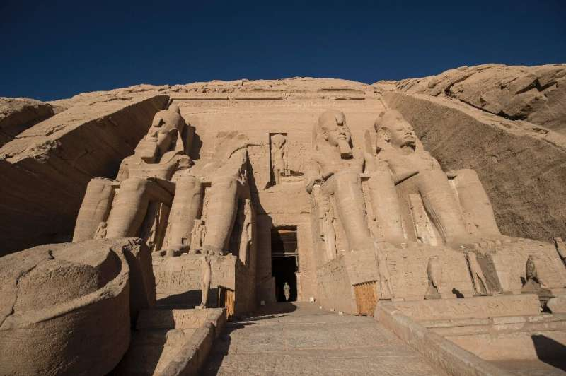 Egypt recalls Aswan 50 years on The colossal statues of a seated Ramses II at the entrance of Abu Simbel archaeological site, rescued from the waters of the res