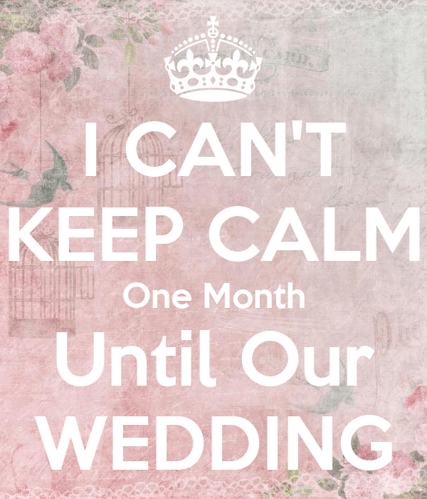 I CANT KEEP CALM One Month Until Our WEDDING Poster
