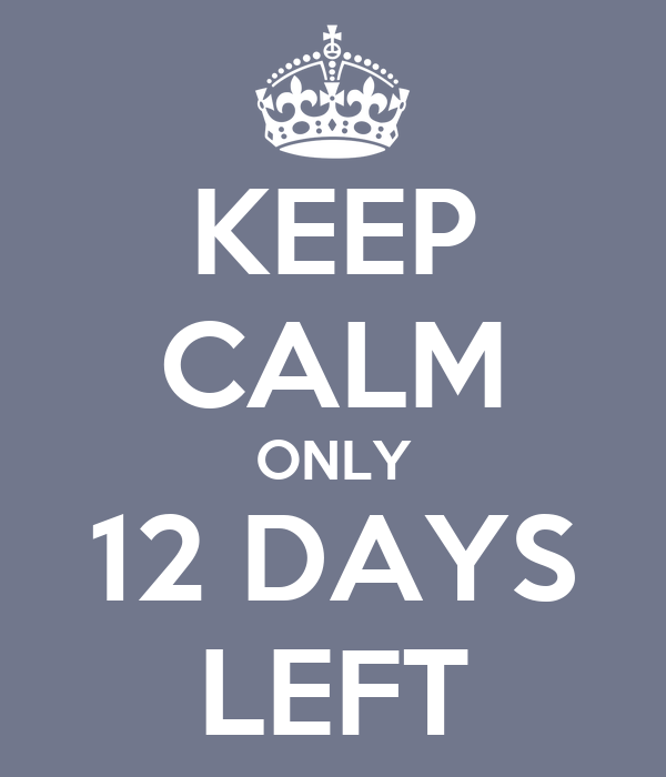KEEP CALM ONLY 12 DAYS LEFT Poster Carly Keep Calm O Matic