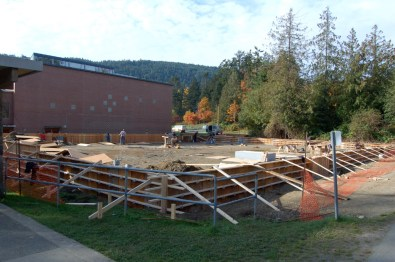Plywood forms for the 8 inch walls on top of the footings