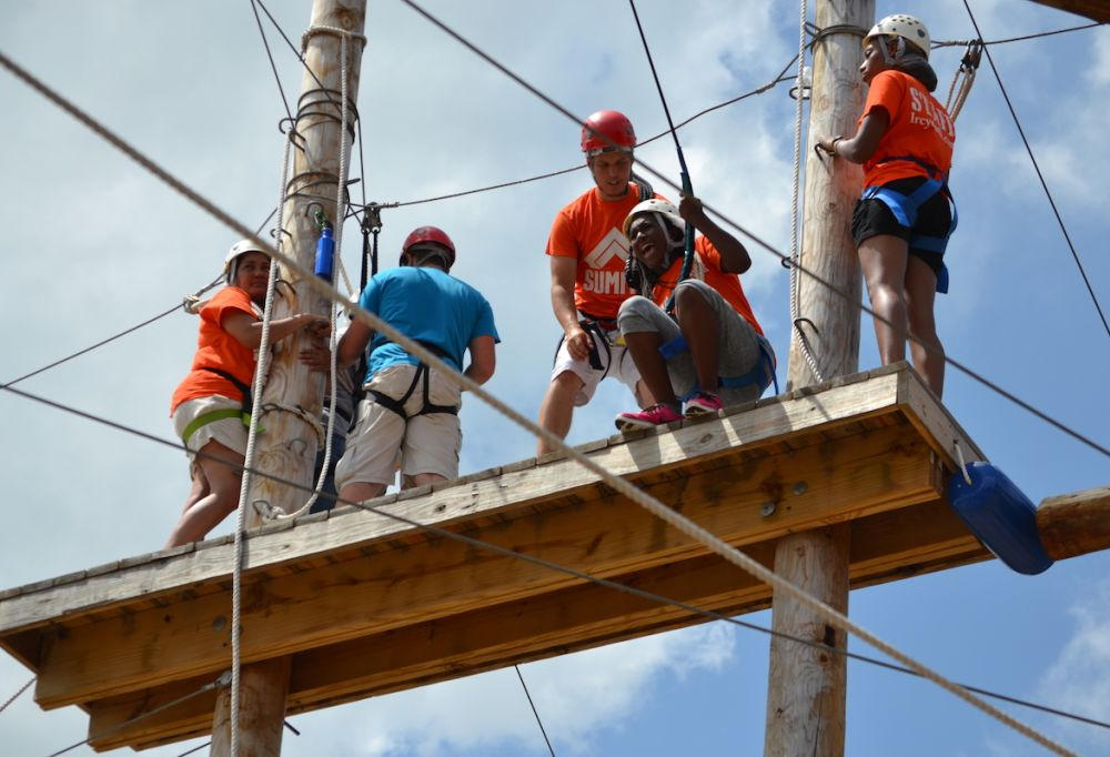 Campers getting ready to zip line at Camp Wagner in Michigan this past summer. (NAD)