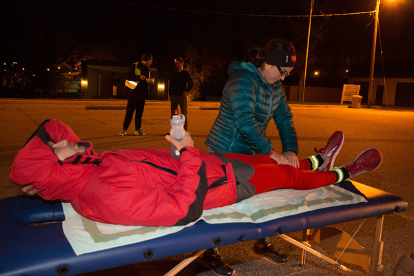 Glanz receives physical therapy at one of the checkpoints during the night.  Credit: (Photo by Darren Heslop)