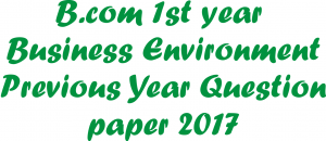 B.com 1st year Business Environment Previous Year Question paper 2017