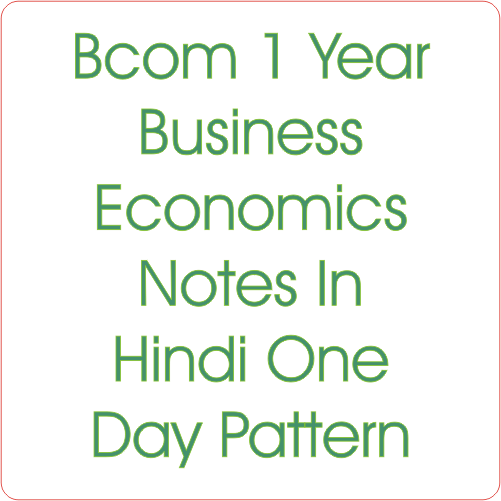 Bcom 1 Year Business Economics Notes In Hindi One Day Pattern