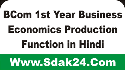 BCom 1st Year Business Economics Production Function in Hindi