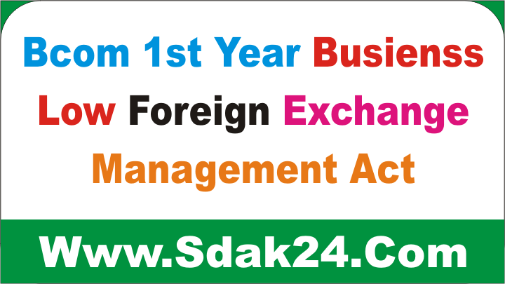 Bcom 1st Year Business Low Foreign Exchange Management Act