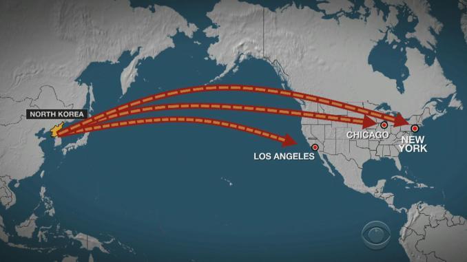 صورة توضيحية لضرب كوريا الشمالية مدن نيويورك، لوس أنجلوس وشيكاغو الأميركيّة