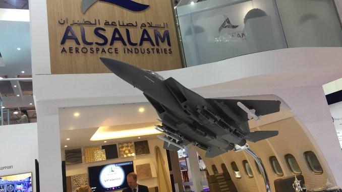 نموذج عن مقاتلة F-15SA خلال معرض دبي للطيران 2017 (شيرين مشنتف)