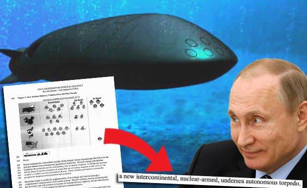 """وثائق البنتاغون النووية يبدو أنها تكشف عن شائعات وجود غواصة """"ستاتوس-6"""" غير المأهولة (GETTY/PENTAGON)"""