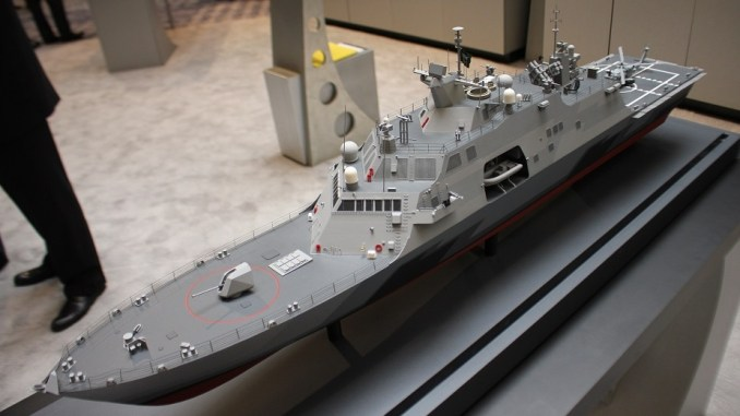 نموذج عن سفينة القتال متعددة المهام MMSC الخاصة بالبحرية السعودية خلال الندوة الوطنية SNA 2018 (موقع Navy Recongnition)