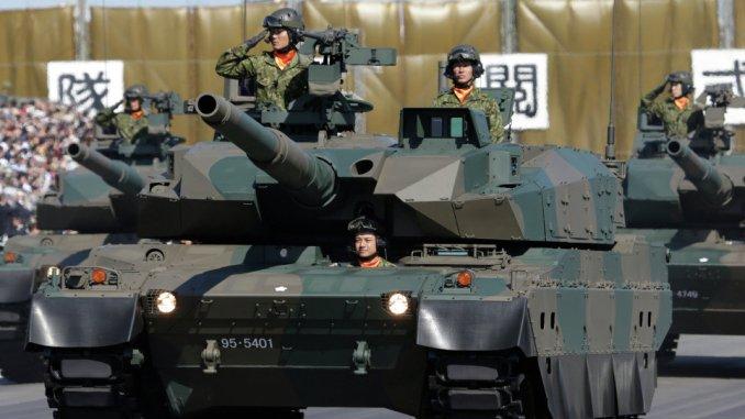عناصر من الجيش الياباني في دبابات ثقيلة (صورة أرشيفية)