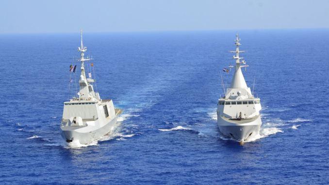 لقطة من التدريب البحري المصري البريطاني والفرنسي نُشرت في 6 آب/أغسطس 2018 (المتحث الرسمي للقوات المسلحة المصرية)