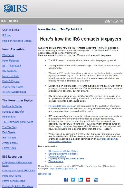 IRS Tax Tip to avoid scammers