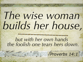 The wise woman builds her house.  Proverbs 14:1  Wise Women rock!
