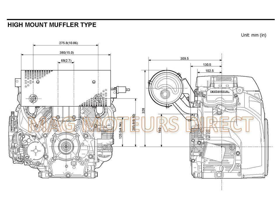 ECHAPPEMENT HONDA GX630 GX660 GX690 sortie DROITE