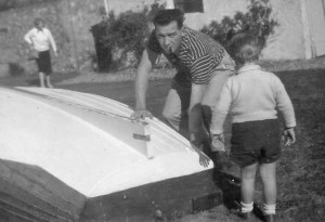Bunny Carr and Alan with Twleve Footer dinghy