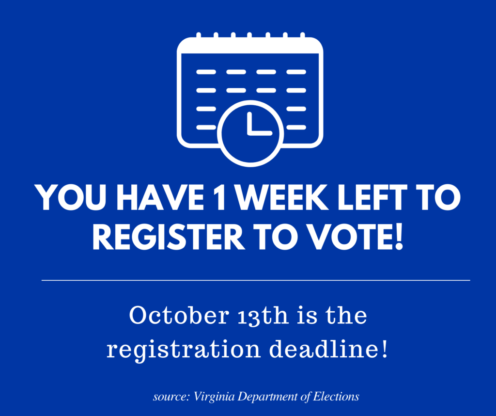 You have 1 week left to register to vote!  October 13th is the registration deadline. Source: Virginia Department of Elections