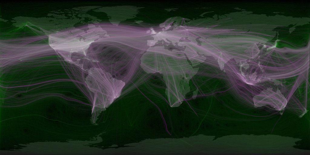 Mapa que muestra cómo se conecta el mundo en Twitter.
