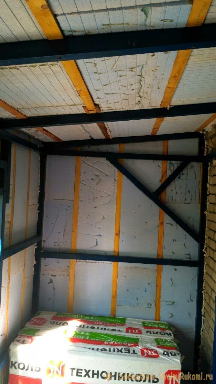 Отделка балкона сайдингом и утепление техноплексом