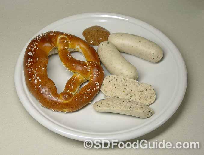 慕尼黑白肠Münchner Weißwurst是巴伐利亚州的传统美食。(维基百科)