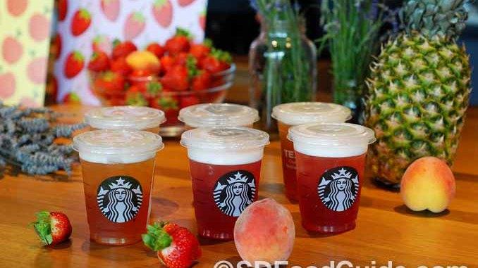 星巴克(Starbucks)推出今夏三款新口味冰摇茶(Teavana Shaken Iced Tea Infusions)。(摄影:灵犀)