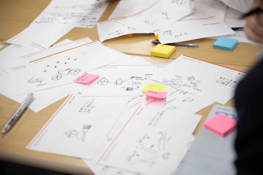 机の上に置かれたアイデアが書かれた紙とポストイット