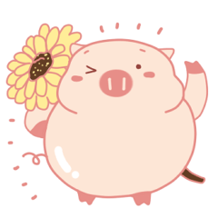 Cute Lovely Pink Pig of The Busy Days