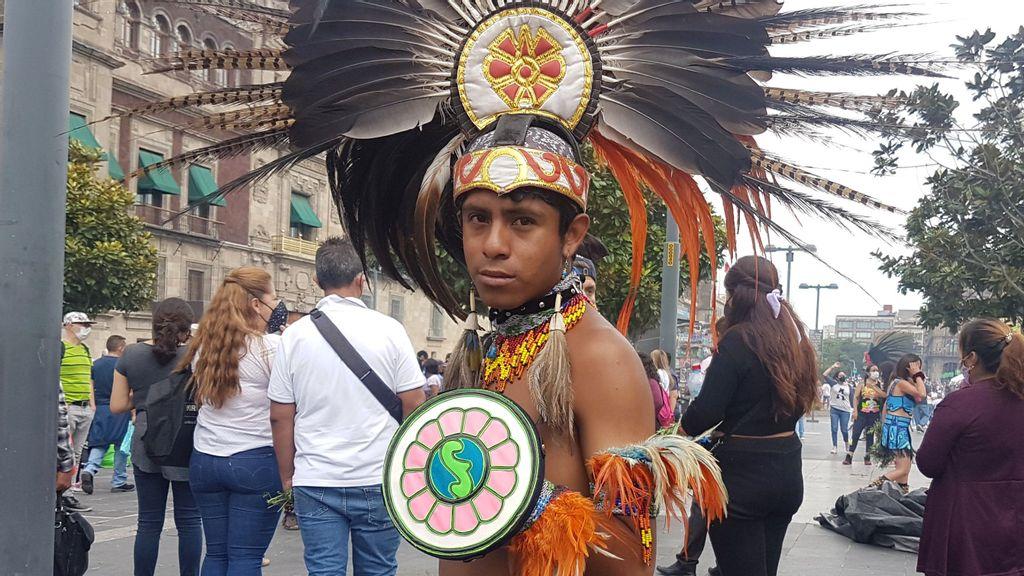 "Miguel Ángel Aguilar López, ""Mictlán,"" dances in Mexico City's Zócalo. (Shantal Romero/Zenger)"