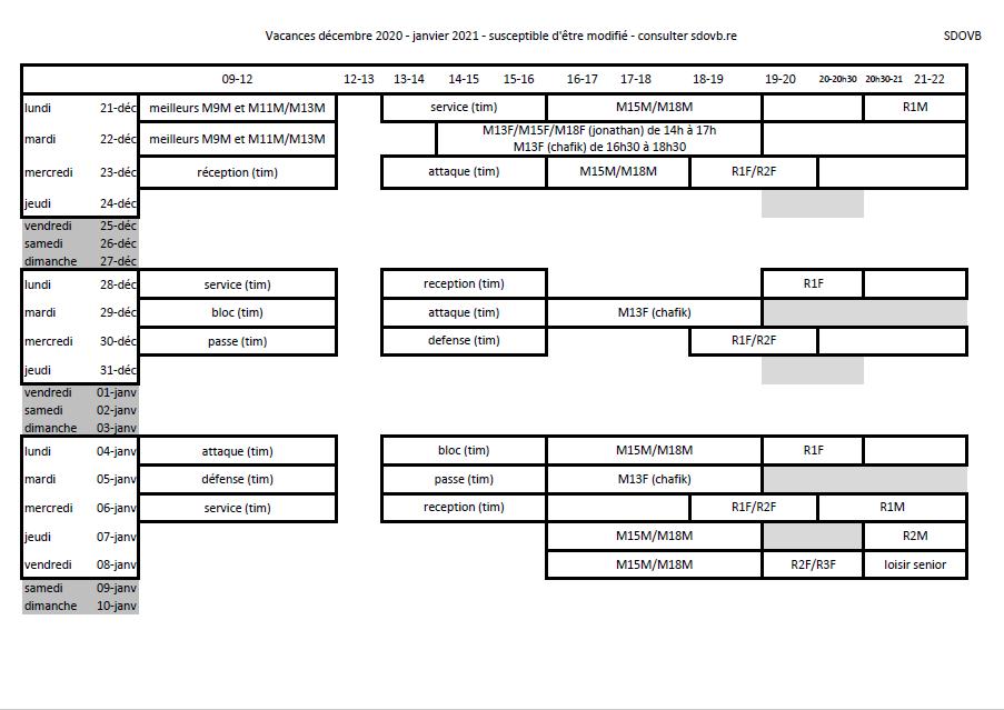 Vacances décembre 2020 – janvier 2021