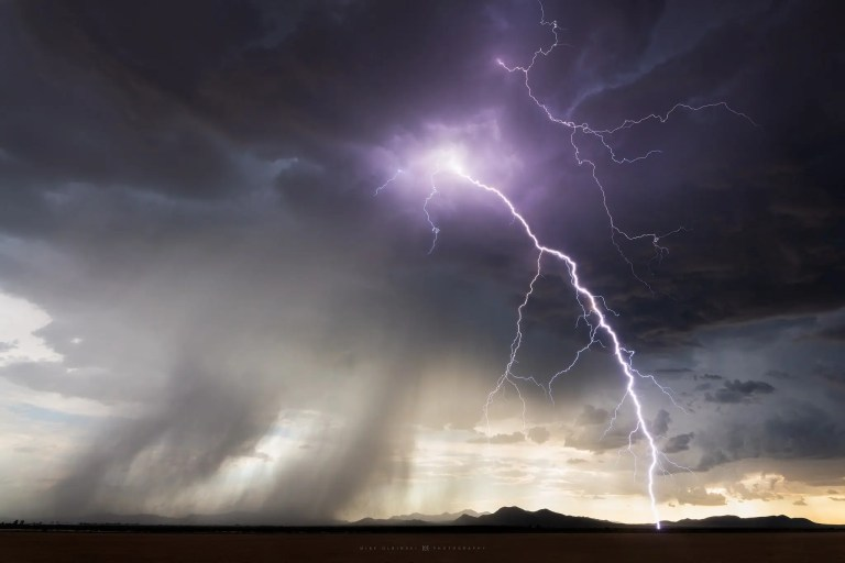Lightning strike near Willcox, Arizona