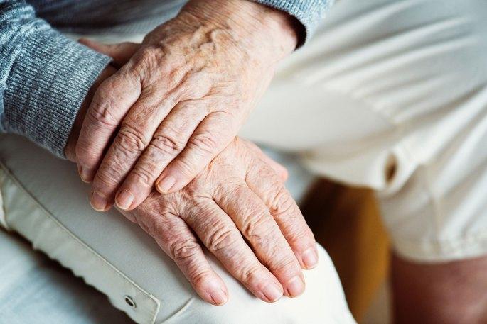 senior citizen hands close up
