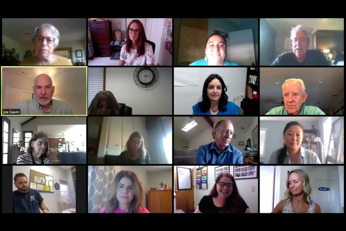 Screen shot from a Zoom meeting of San Diego County senior center directors and service providers