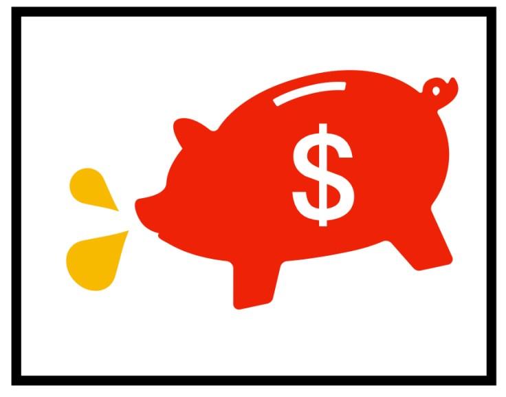 紅色豬存錢筒身上有個錢的標誌,口前方吐了兩滴油水