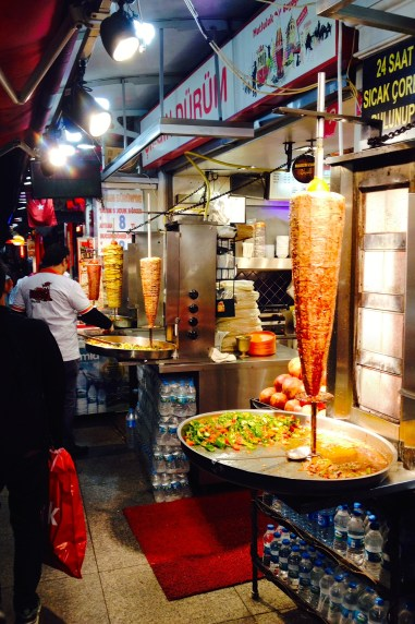 A cheaper and faster version of kebab is called dürüm. Dürüm is served with either chicken or beef that is cooked on a large rotating skewer. The meat is carved off the skewer after you order and served on lavaş (similar to a soft tortilla) with tomatoes, peppers and pickles, then rolled up into a wrap.