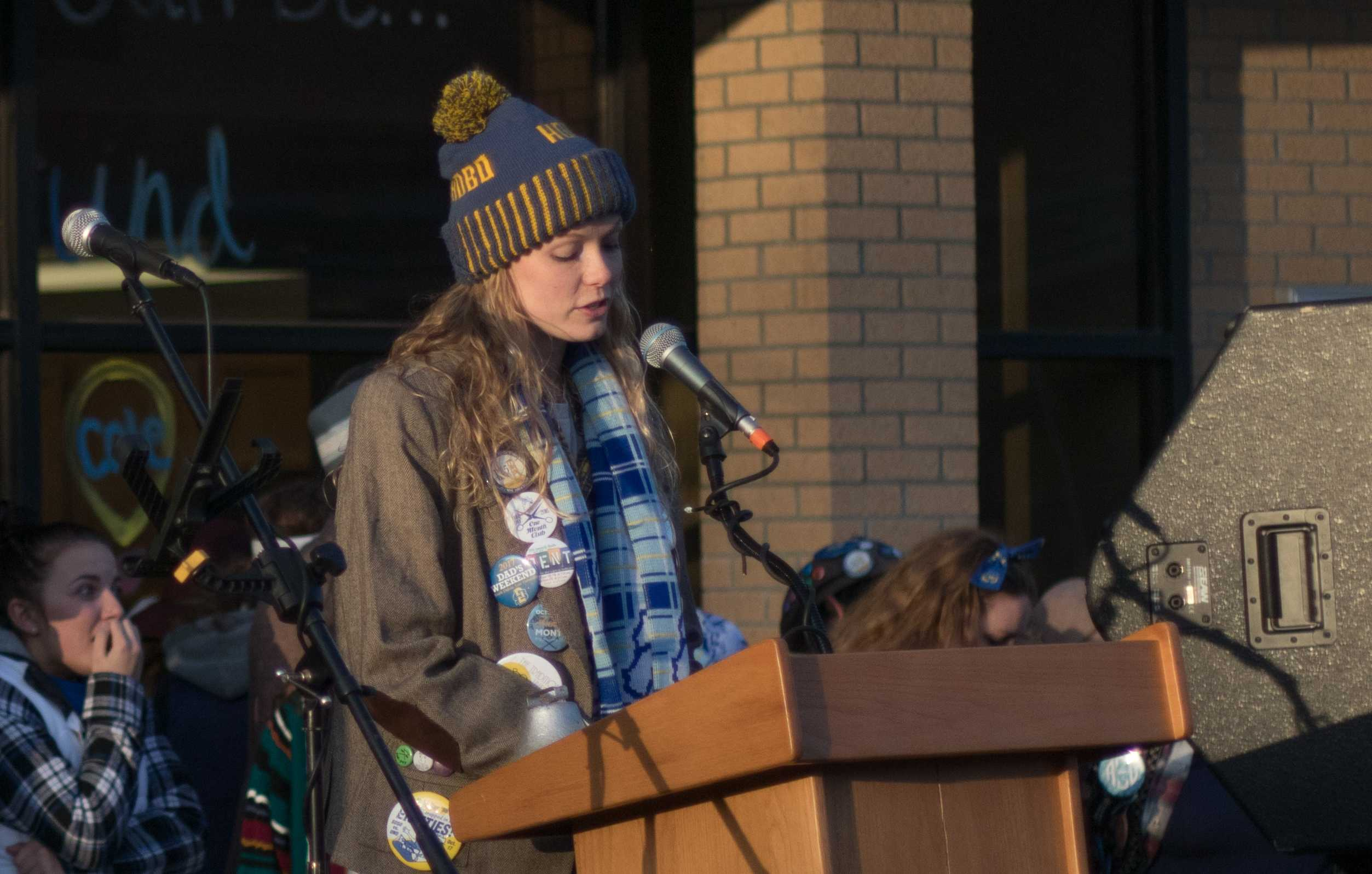 GARRETT AMMESMAKI Grand Pooba Anna Chicoine speaks Oct. 9 at the Rally at the Rails celebration for Hobo Day 2017.