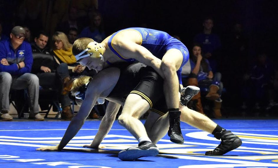 SDSU's Seth Gross battles with No. 10 Solomon Chisko of Virginia Tech. Gross fell in a 10-5 decision.