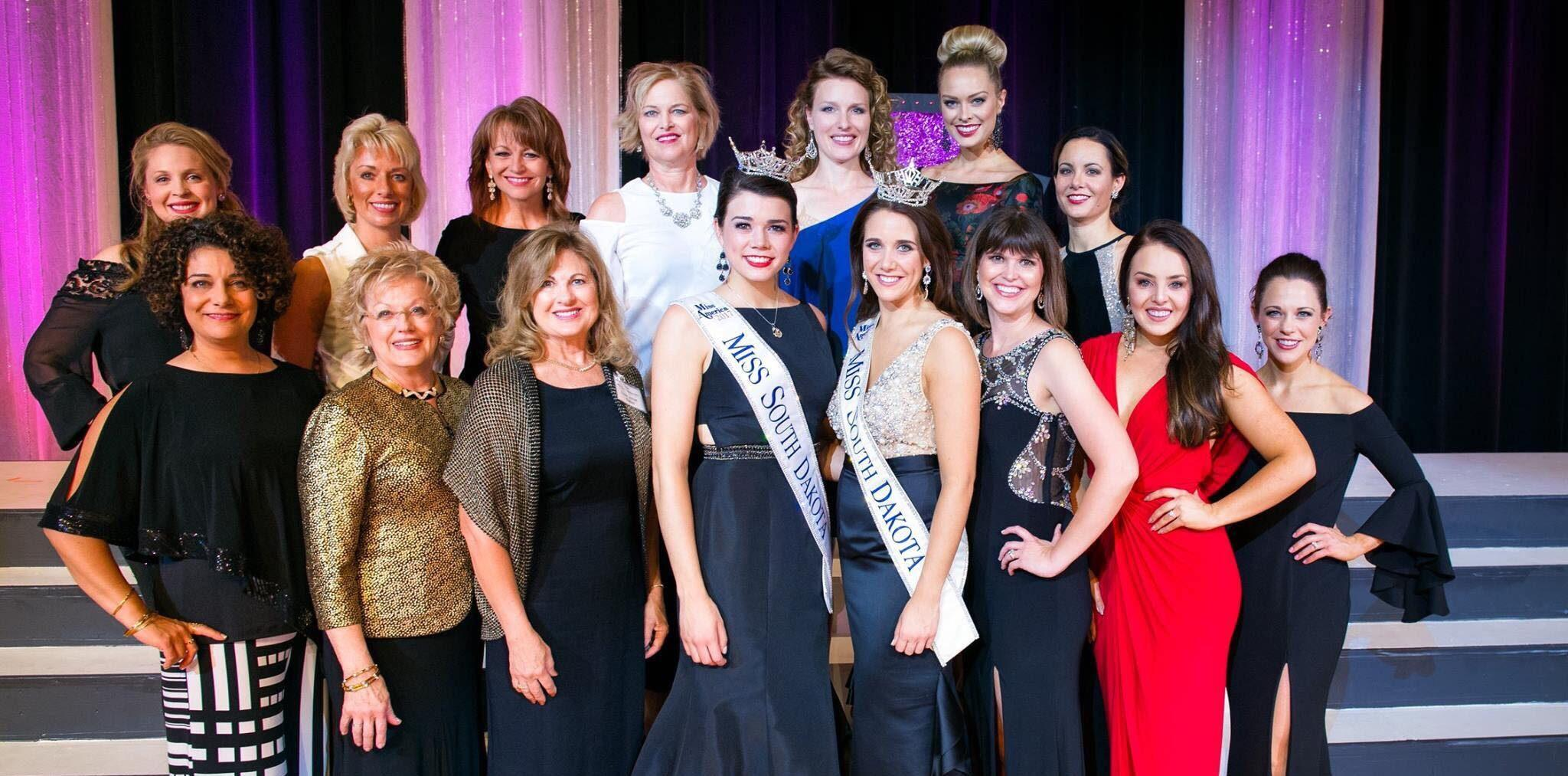 SUBMITTED Miss South Dakota Miranda Mack (front and center) with former Miss South Dakota. Mack only held one local title before going on to be crowned Miss South Dakota.