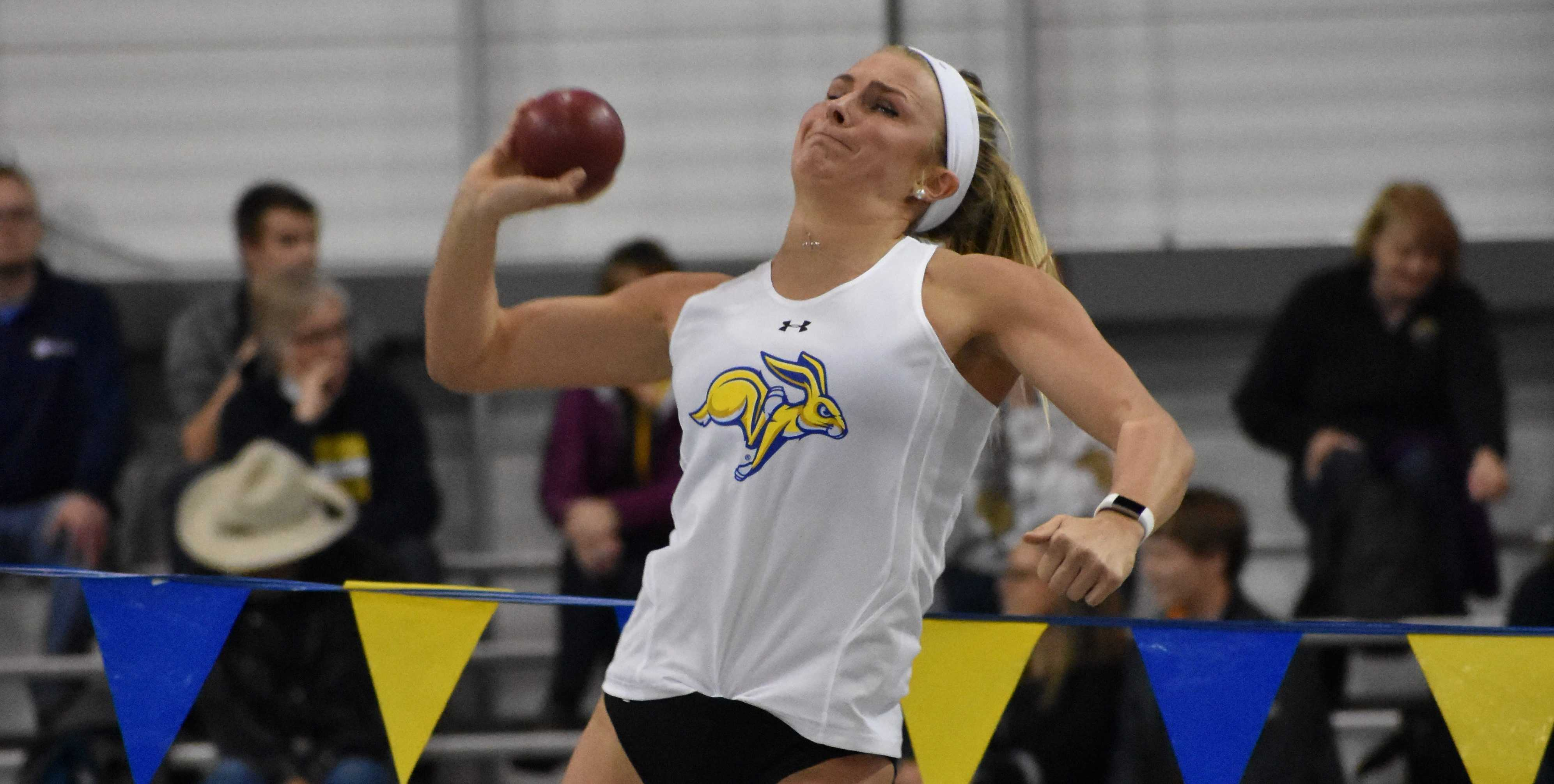ABBY FULLENKAMP Senior Vanessa Lane competes in the women's shot put Jan. 19 during the SDSU DII Invitation meet . The Jacks host the SDSU Indoor Classic starting at 2 p.m. Feb. 9 and 9 a.m. Feb. 10 in the Sanford Jackrabbit Athletic Complex.