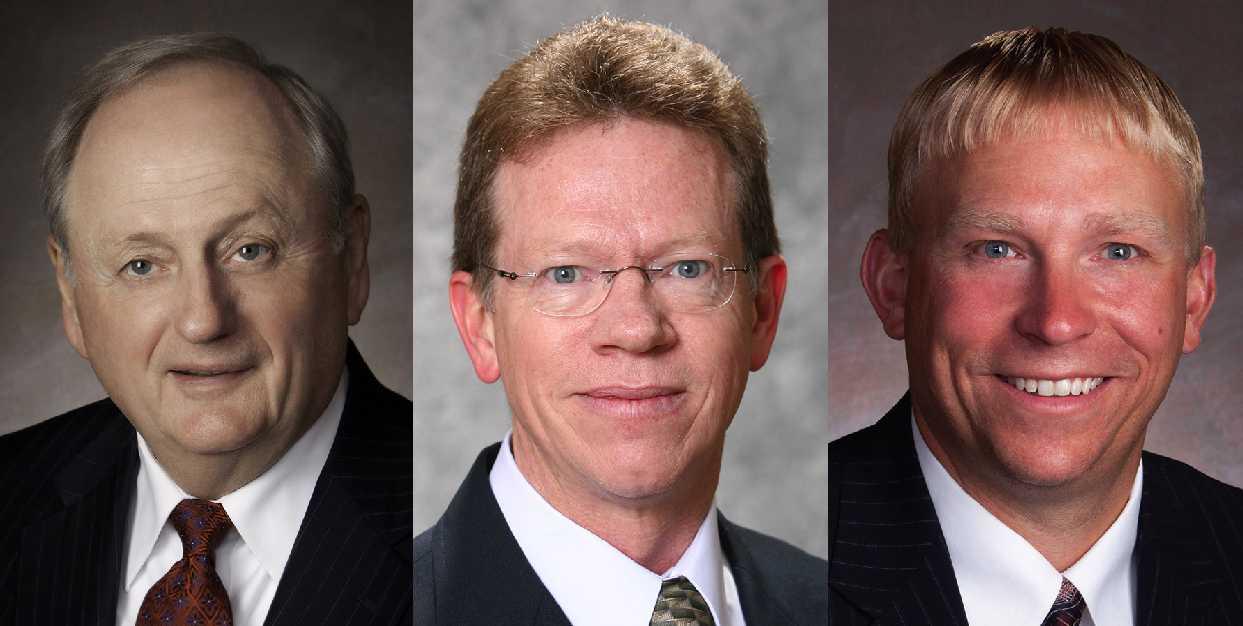 First Dakota National Bank's Larry Ness, Don Marshall and Nate Franzen.
