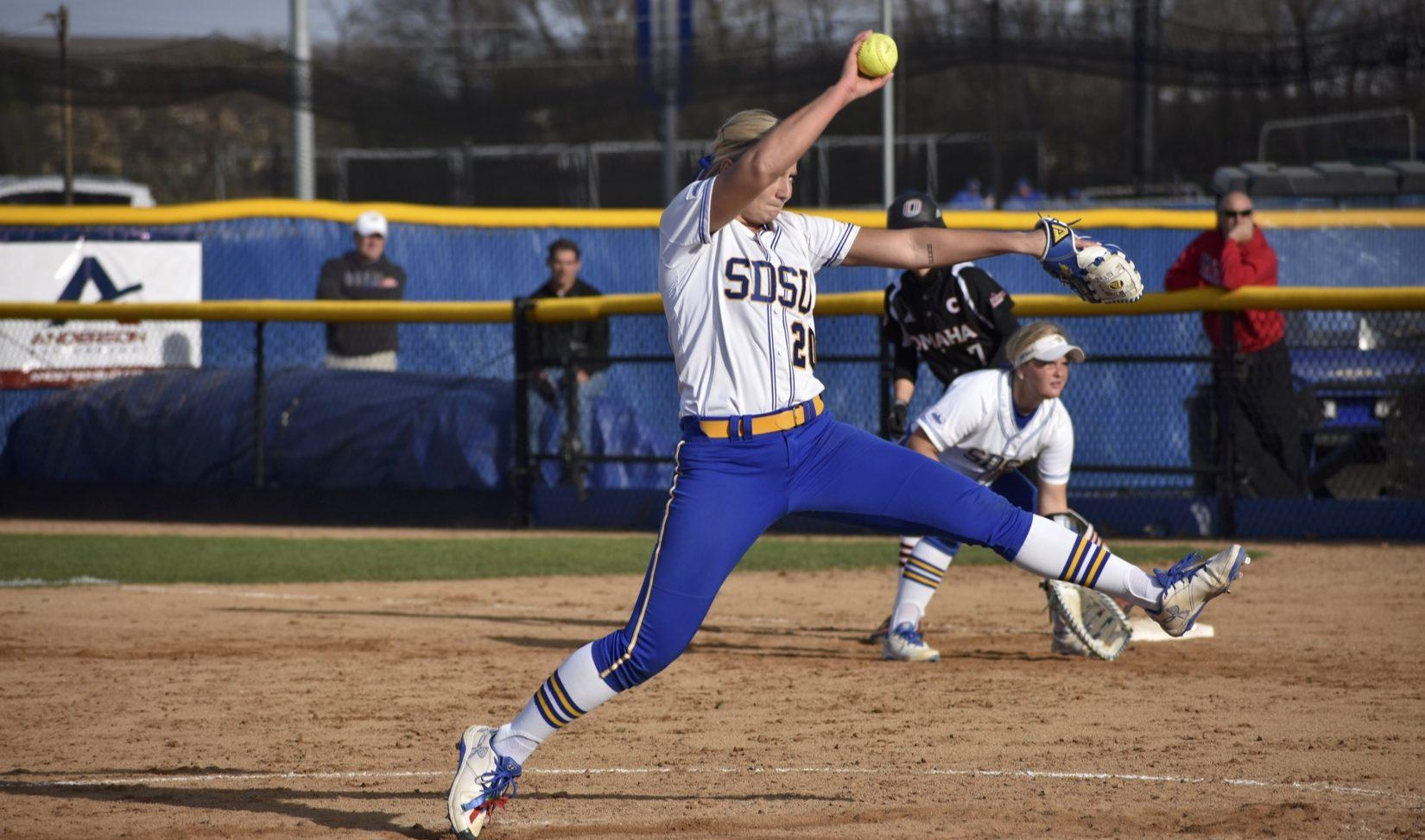 FILE PHOTO Senior Madison Hope pitches during the game against Omaha April 21, 2017. SDSU faces USD at 12 p.m. and 2 p.m. Saturday, April 7 in Sioux Falls.