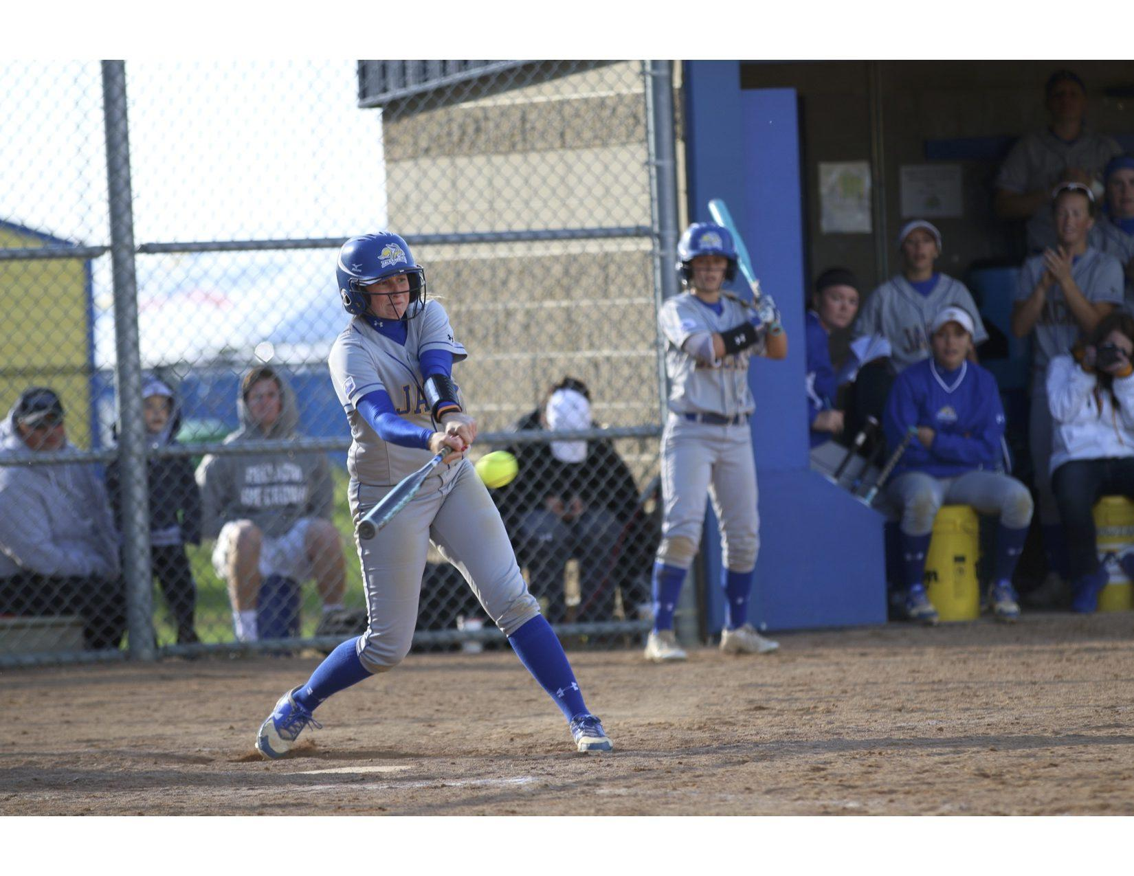 FILE PHOTO Junior Baily Janssen swings during the game September 25, 2016. The SDSU softball team is 21-10 on the season and will play South Dakota April 7 and 8 in Sioux Falls.