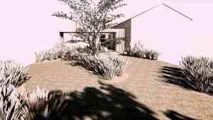 Gepolierd beton Landschappelijke tuin met overdekt terras VS – Schellebelle