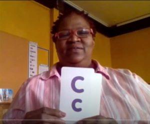 teacher display's letter c