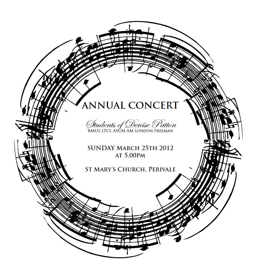 Piano Recital Invite, Sunday 25th of March, 2012 at 5pm