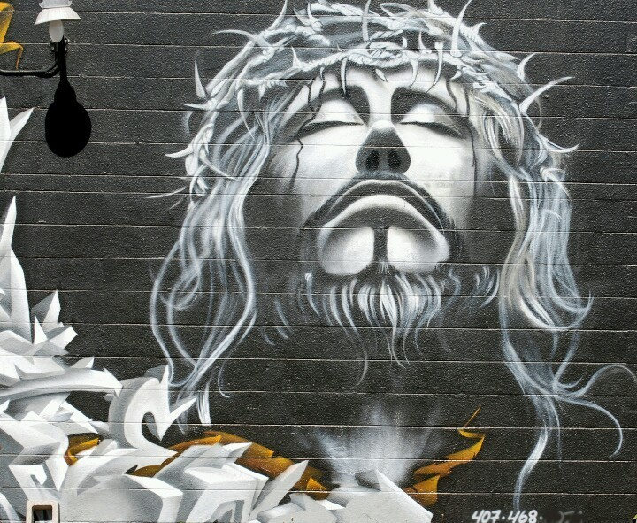 Graffiti of Jesus Christ with crown of thorns